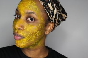 What the Turmeric Mask looks like on my skin.